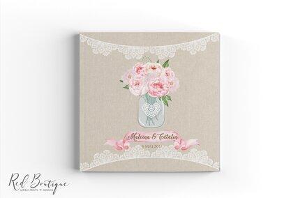 guestbook cu coperta vintage personalizata cu dantela si flori roz in borcan