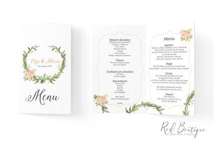 meniu pentru nunti rustice cu carton texturat si coronita de verdeata cu flori portocalii pastel in interior