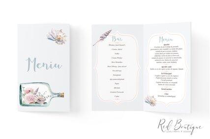 meniu pentru nunti cu tema marina cu scoici si flori in sticla