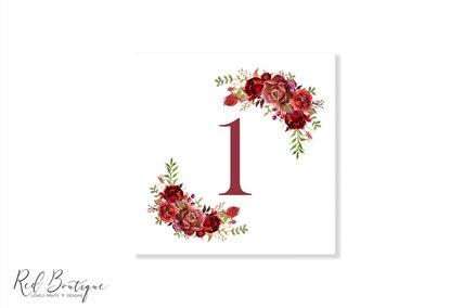 numar pentru masa de nunta pe carton alb cu flori rosii