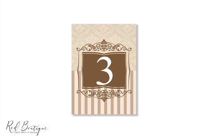 numere pentru mesele de nunti elegante cu crem si maro