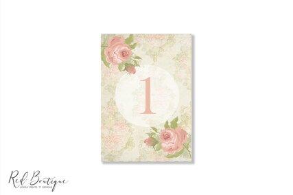numere de masa pentru nunti vintage cu trandafiri englezesti
