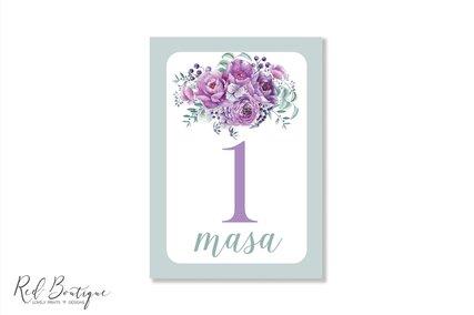 numere de masa cu flori lila pentru nunti florale mov
