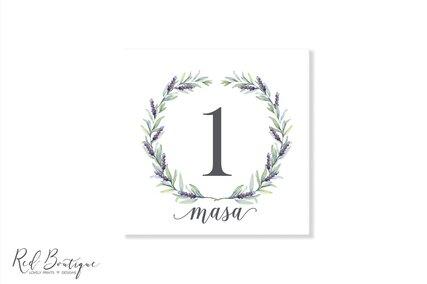 numere de masa patrate pentru nunti cu lavanda si verdeata
