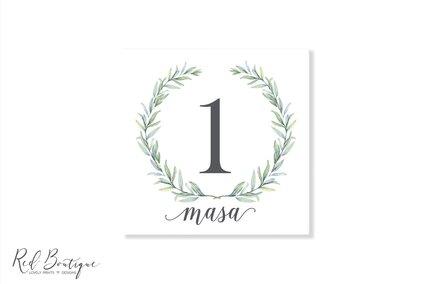 numere de masa pentru nunta rustica cu frunze de maslin