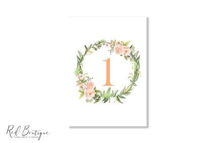 numere de masa pentru nunti rustice cu verdeata si flori vintage portocalii