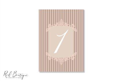 numar pentru mesele de nunta cu crem si dungi elegant vintage