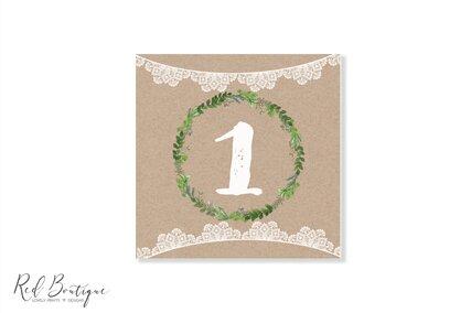 numere de masa patrate pentru nunti vintage cu verdeata si dantela