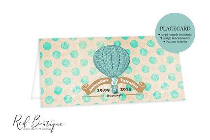 placecard vintage cu balon si buline mari cu loc pentru nume invitat si buzunar pentru bani