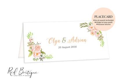 placecard vintage cu flori pastel si frunze verde intens