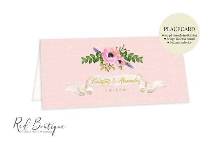 placecard cu anemone roz si frunze verzi cu loc pentru nume si buzunar de bani