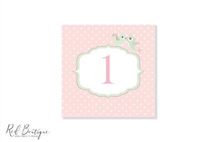 numar pentru masa roz cu buline si pasari pentru botez