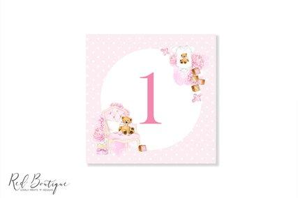 numere de masa patrate pentru botez fetita cu ursulet si tort roz