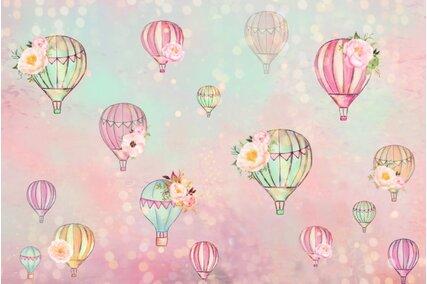 fundal foto cu cer colorat si baloane cu flori