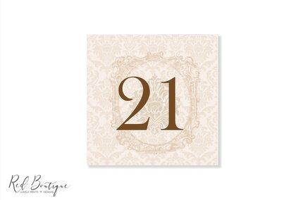 numere pentru mesele invitatilor la nunta cu crem vintage elegante