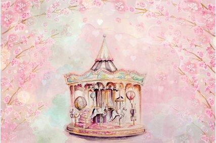 fundal foto carusel cu flori roz de cires