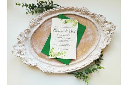 invitatie de nunta cu frunze verzi