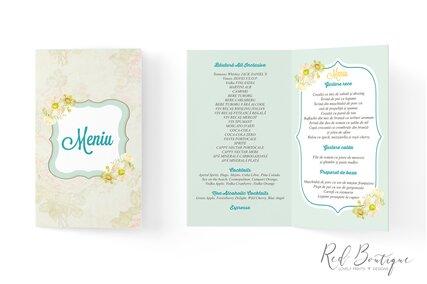 meniu de botez cu imagine bebelus flori galbene si interior pentru mancare si bautura