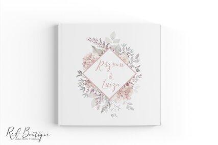 guestbook cu flori rozsu si chenar