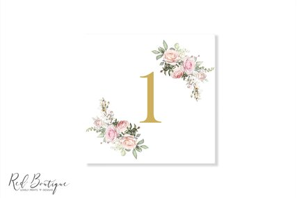 numar pentru masa cu trandafiri si auriu