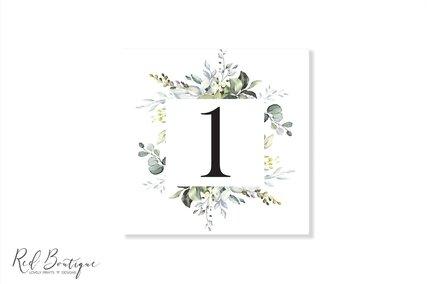 numar de masa pentru nunta greenery