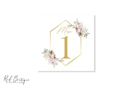numar pentru mesele invitatilor cu trandafiri si chenar auriu