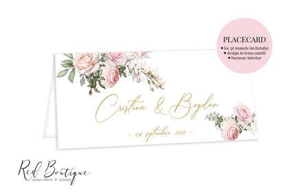 placecard cu buzunar elegant cu auriu si trandafiri