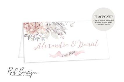 placecard cu buzunar elegant si delicat cu flori roz