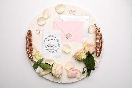 invitatie de nunta geometrica