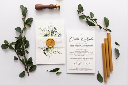 invitatie greenery