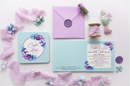 invitatie de nunta lila cu mint
