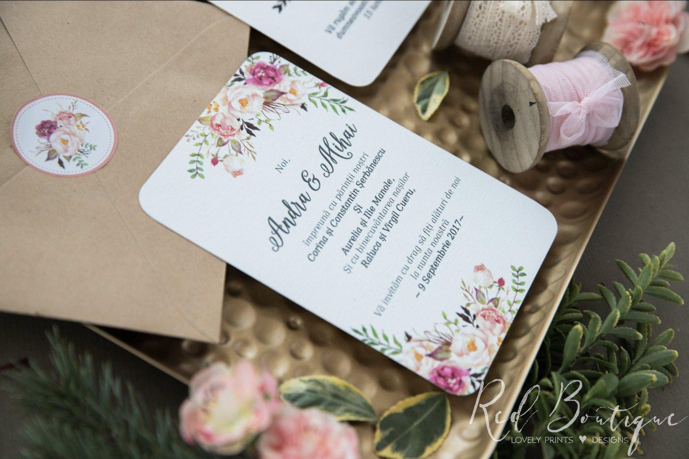 invitatie de nunta postcard cu trandafiri si frunze