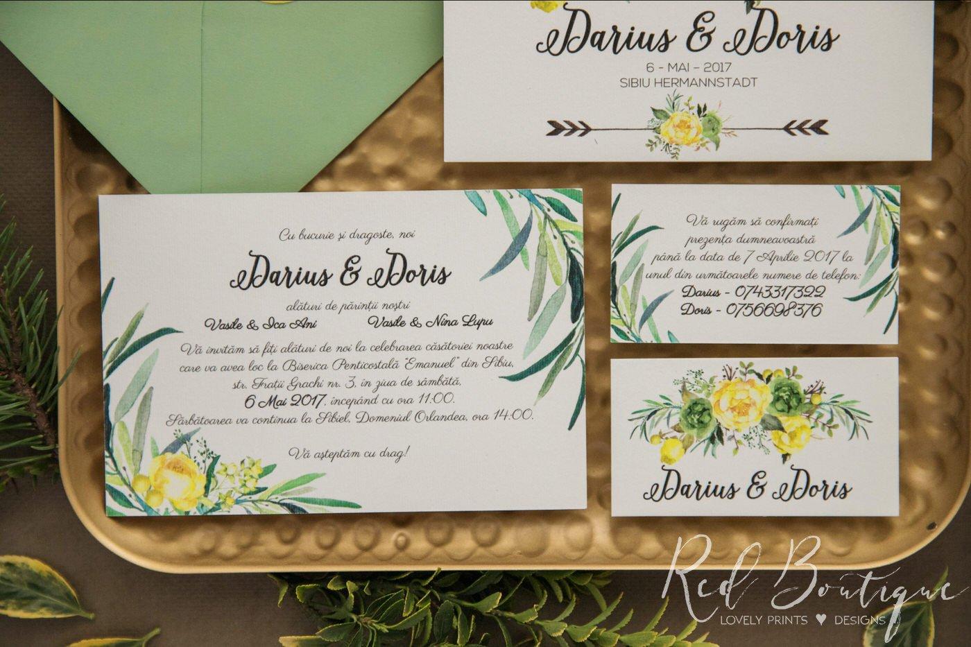 Invitatie De Nunta Yellow Garden