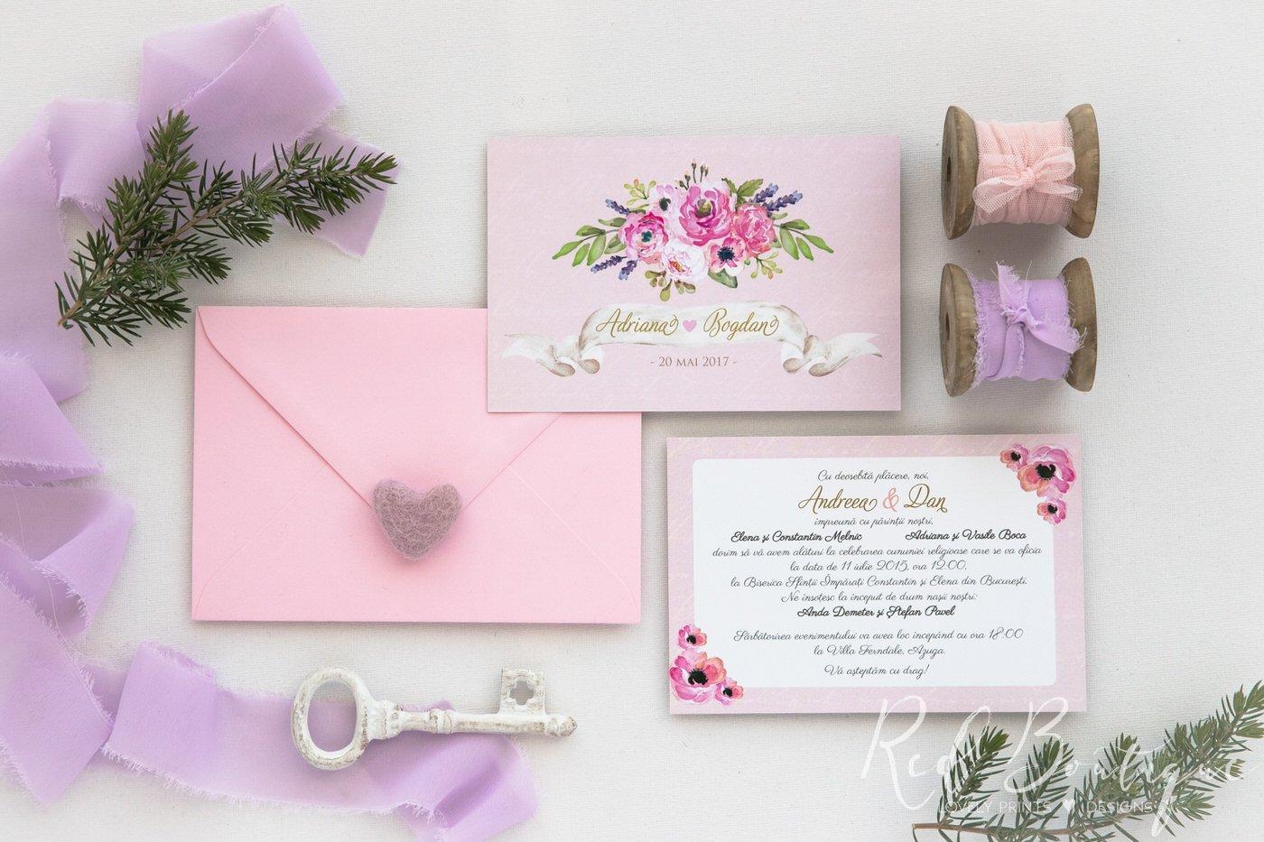 Invitatie De Nunta Pastel Pink