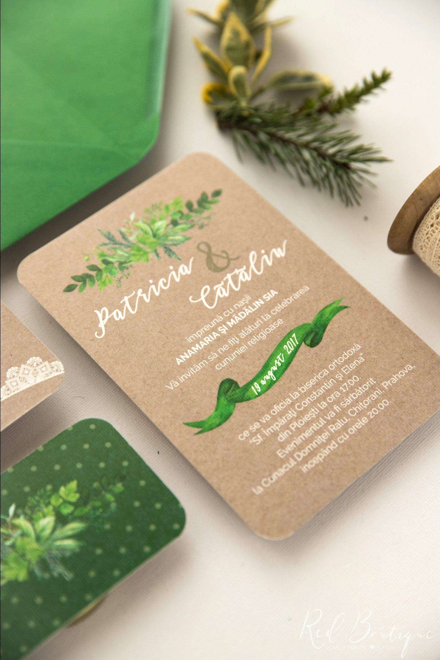 invitatie de nunta vintage cu frunze verzi si design cu panglica verde pentru numele mirilor