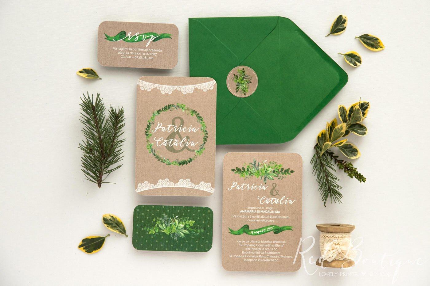 Invitatie De Nunta Vintage Green