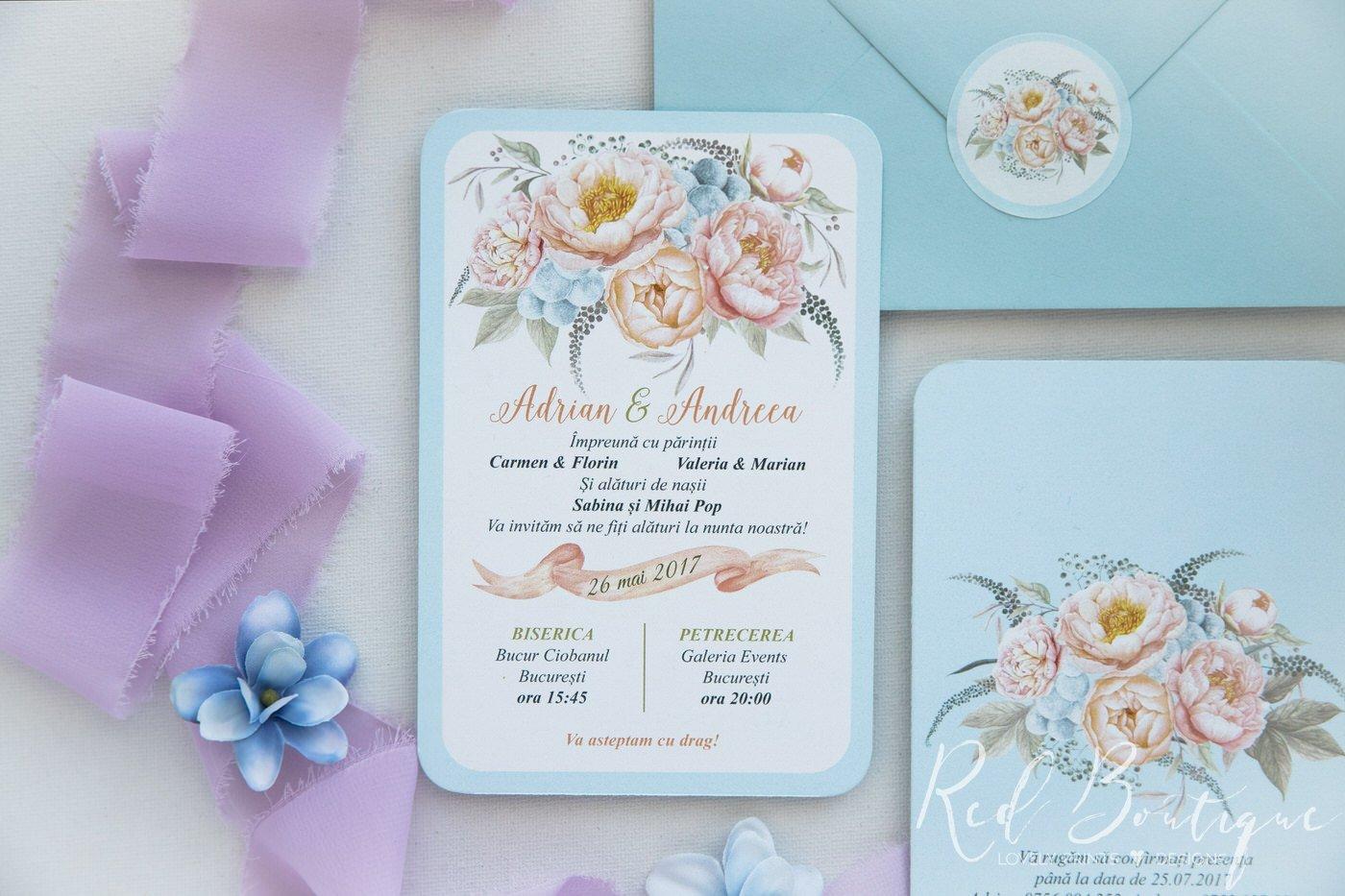 invitatie de nunta postcard cu albastru deschis si plic bleu