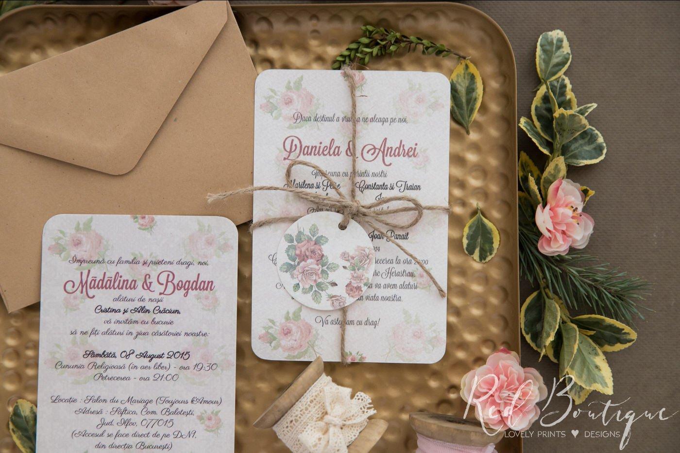 invitatie vintage cu trandafiri si sfoara cu plic kraft