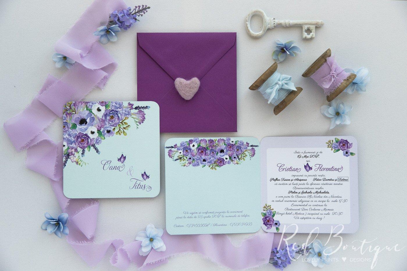Invitatie De Nunta Mint Purple