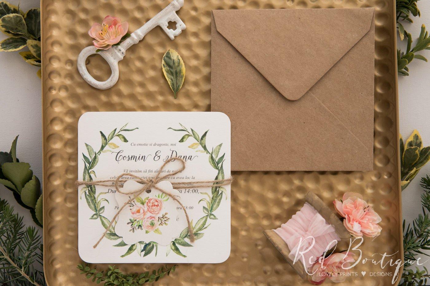 invitatie rustica cu verdeata si flori portocalii