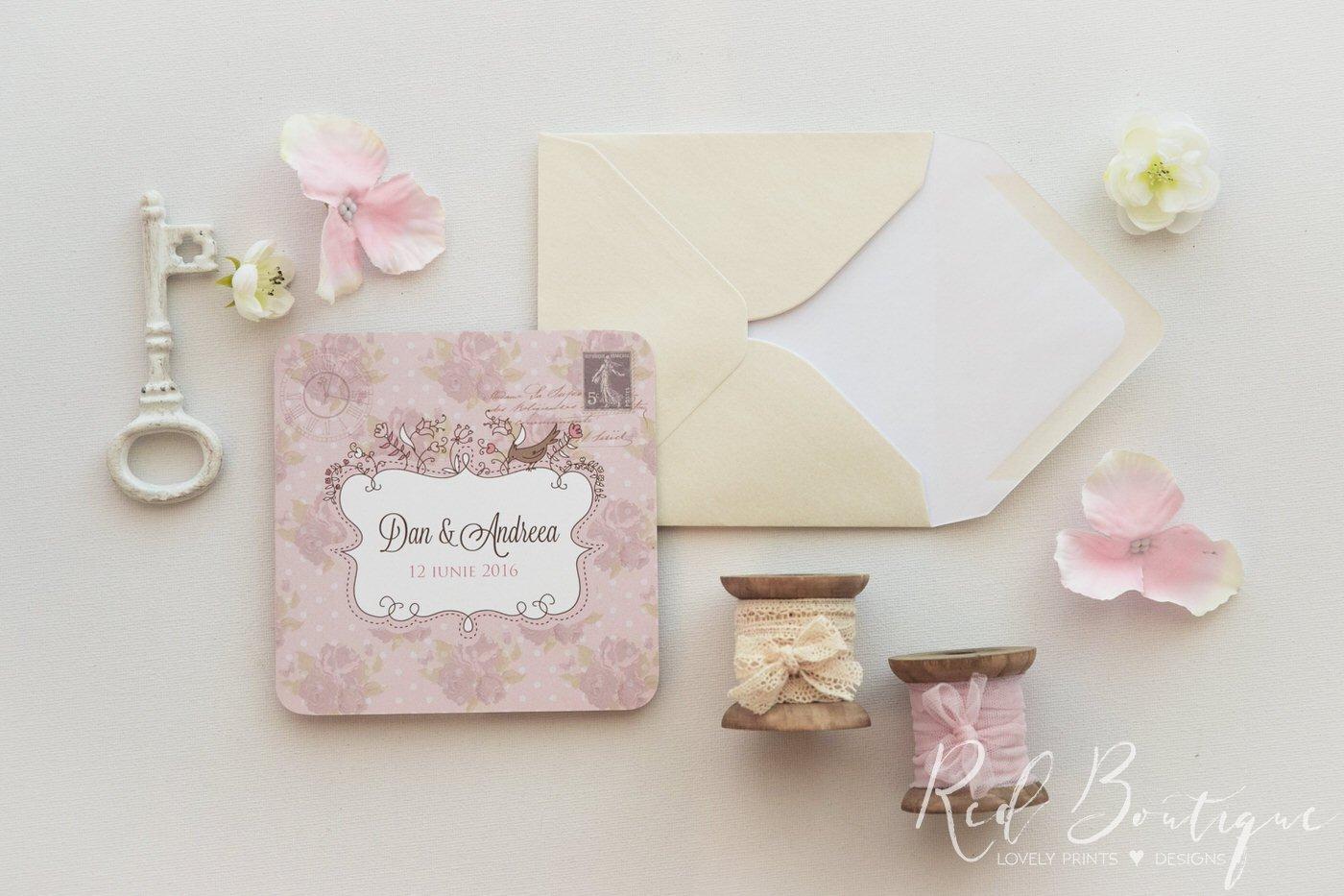 Invitatie De Nunta Shabby Chic Flowers