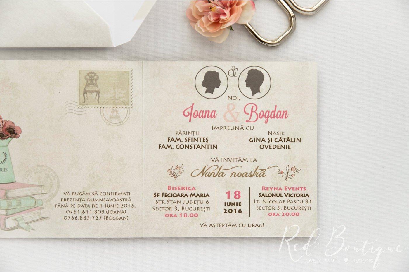 Invitatie De Nunta Vintage Paris