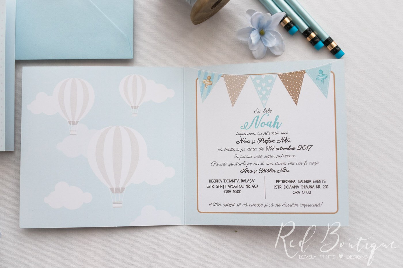 Invitatie De Botez Fly Away Baby Boy