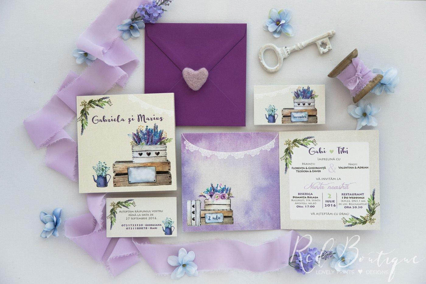 Invitatie De Nunta Lavander In A Box