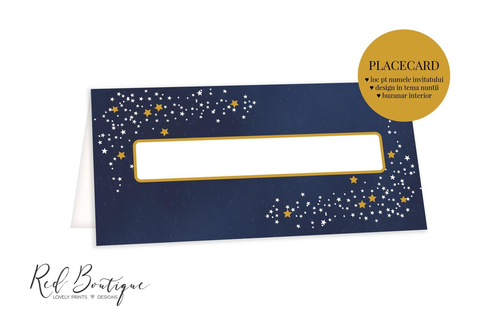 placecard albastru inchis cu luna si stele si loc pentru nume invitati