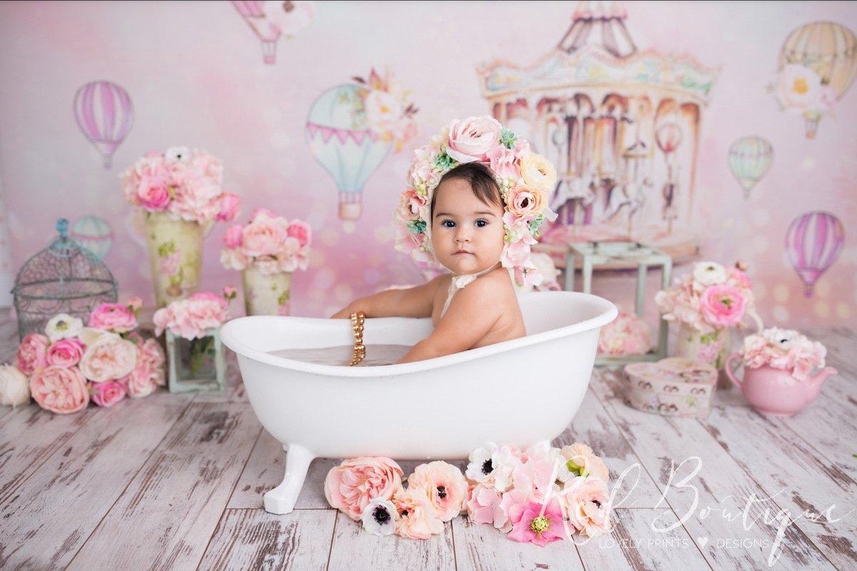 fundal foto cu carusel roz