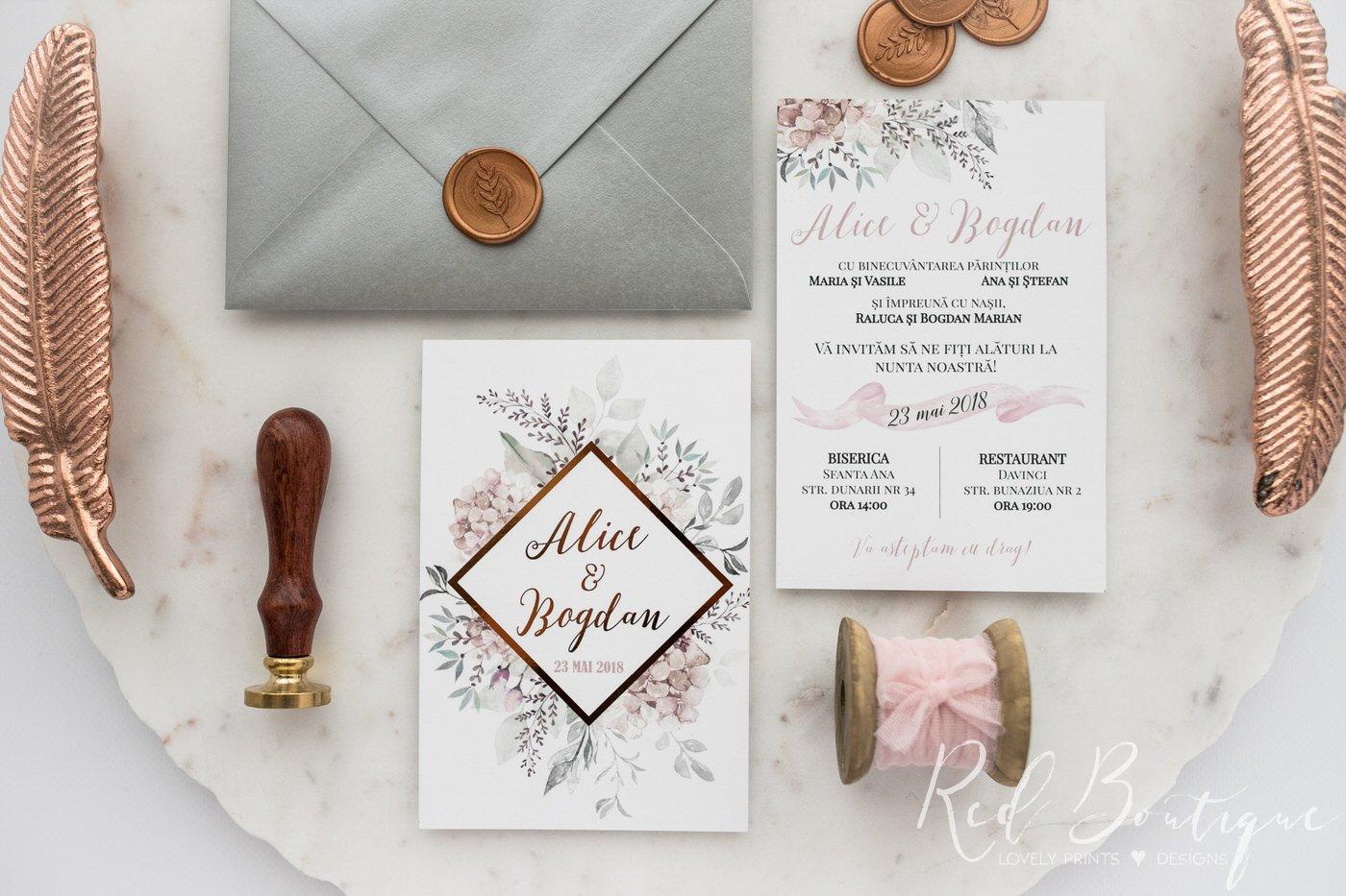 invitatie moderna cu sigiliu si scris rose gold cu model geometric si verdeata