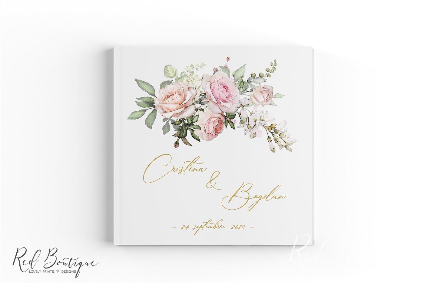 guestbook elegant cu trandafiri si scris auriu