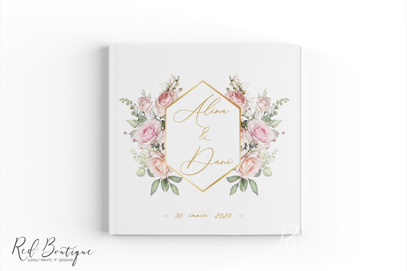 guestbook elegant cu trandafiri si auriu